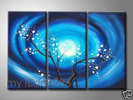 Wholesale Modern Abstract Huge Wall - Free Shipping ,Lots Wholesale ,san045,100% Handicrafts Modern Abstract 3 panel Combination huge wall Decor art oil painting :Plum Bloss