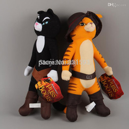"Wholesale Puss Boots Toys - Wholesale-Anime Cartoon Shrek Puss in Boots Cat Plush Toy Soft Stuffed Animal Doll Free Shipping 2pcs lot 15"" 38CM"