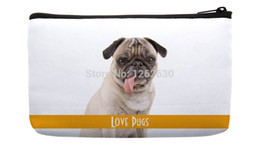 Wholesale Hand Bag Love - Wholesale-Simple Styel Love cute Pug Pattern Print Custom Small Cosmetic Bag Wristlet hand bag
