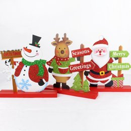Wholesale Craft Santa - Christmas Decoration Modern Simple Living Room Decorated Snowman Santa Claus Creative Elk Craft Gift Wooden Christmas Table Ornament
