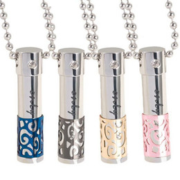Wholesale Hollow Rope Chain - 316L Titanium essential oils perfume bottle crystal Diamond necklace Lovers Oil bottle Diffuser Locket Pendant Can be opened Hollow pendants