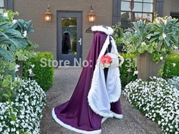 Wholesale Cheap Fur Hooded Jackets - 2016 Winter Cheap Bridal Cape Grape Wedding Cloaks Hooded Faux FurTrim Ankle Length Perfect For Winter Warm Long Wraps Jacket CPA419