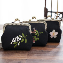 Wholesale Wholesale Embroidery Hoops - Retro national flower coin purse cotton key holder wallet hasp small black bag Chinese style embroidery designer clutch handbag