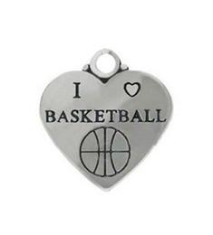 Wholesale Metal Basketball Bead - 50pcs i love basketball sporty metal heart charm