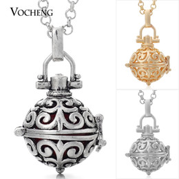 Wholesale Small Christmas Balls - Cage Angel Chime Ball Small 12mm 3 Colors Copper Angel Ball in Chain Necklaces with Stainless Steel Chain VA-031