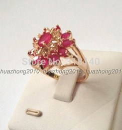 Wholesale 14k Yellow - H2A84Green Red 100% Natural Emerald Ruby 14K Yellow Solid Gold Size US 8
