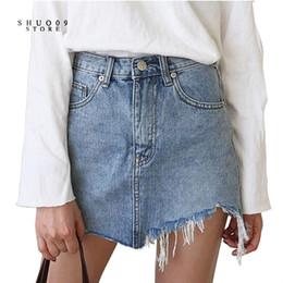 Wholesale Women Mini Jeans Skirt - Wholesale- 2017 New Summer Pencil Denim Skirt High Waist Washed Jeans Women Skirts Irregular Denim Skirts Mini Size Women Bodycon Skirt