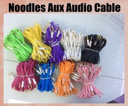 Wholesale Noodle Cable Iphone 5s - Aux audio Cable Stereo Male M Audio noodle Cords  Headphone PC patch Cable Cord Line for sumsang S4 inote 3 htc iphone 5s CAB034