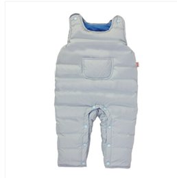 Wholesale Duck Bibs - Wholesale-2015 winter new arrival 90% white duck down bib pants overalls baby clothes solid color for newborn Long snowsuit