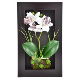 Orquídeas quadro on-line-Decoração de casa 3d Simulação Planta Quadro Flores Artificiais Orquídea Arranjo de Mesa Decoração de Parede Esculturas Montadas Na Parede 3 Filial