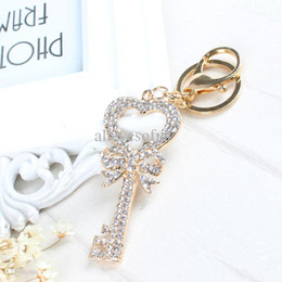 Wholesale Cute Butterfly Keychain - Wholesale-Keychain Heart Butterfly Lovely Fashion Cute Rhinestone Crystal Pendent Key Chain Women Charm New Jewelry Gift