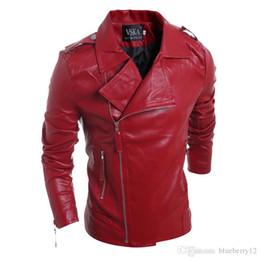 Wholesale Leather Long Coats For Men - 2017 Own Brand Designer Men Leather Jacket Coat Fashion Lapel Neck slim Men Jackets For Autumn Winter