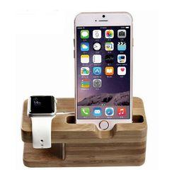 2019 iphone bezel sticker Costume universel de support de charge de bambou pour l'iPhone 4S / 5 / 5s / 6 / 6S / 6Plus, support de support de bâti de charge pour la montre d'Apple