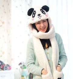 Wholesale Hooded Scarf Fur - Wholesale-2015 Winter Cartoon Panda Womens Hat Scarf Gloves One Piece Warm Soft Plush Faux Fur Hooded Cap Scarves Hood Pocket Wholesale Z7