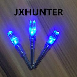 Wholesale blue compound - 3PK Archery hunting compound bow carbon arrow tails lighted led light arrow nock for ID 6.2mm arrows blue color