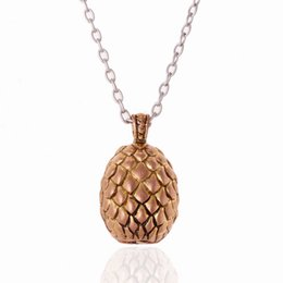 Wholesale Gold Dragon Pendants For Men - 2015 hot retro dragon egg pendant Necklaces for men and women movie game of thrones necklace
