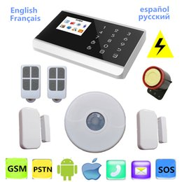 Wholesale Gsm Pstn Alarm Lcd - PSTN GSM Home Alarm System Wireless Voice LCD Android APP 8218g For Alarme Residencial House Security With Ceiling PIR Sensor