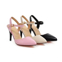 Wholesale Hot Pink Heels Wholesale - Wholesale- ARMOIRE Summer Hot Sales Sexy Women Sandals Beige Black Pink Pumps Ladies Med Heel Shoes AHS1391 Plus Big Size 31 43 Pointed Toe