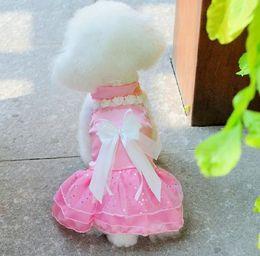 Wholesale princess pets - 1pcs Pet Supplies Dog Cotton Princess Dress with Bowknot Cute Dog Clothes