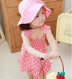 Wholesale three piece knee length dress - The cheapest ! !Children Clothing Girls Dress + hat + pants three-piece hooded round little girls