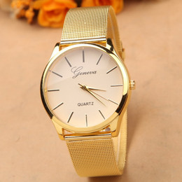 Wholesale Best Ladies Dress - Noble Geneva Dress Watch Gold Relogio Feminino Clock Simple Vogue Womens Ladies Analog Quartz Wristwatch Best Christmas Gift