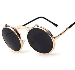 Wholesale Yellow Man Sunglasses Circle - Fashion Men Women Vintage Steampunk Sunglasses Round Designer Cover Steam Punk Metal Frame Circle SunGlasses UV400