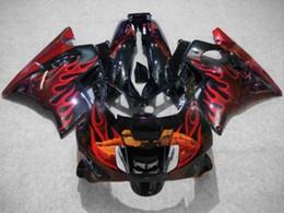 Wholesale Cbr Custom Fairings - Custom Fairing kit for CBR600F2 91 92 93 94 CBR 600F2 CBR600 1991 1992 1993 1994 ABS Red flames black Fairings set+7gifts HJ21 free shipping