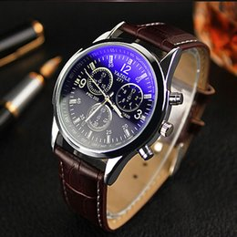 Wholesale Mens Faux - 2015 Hot Montre, Popular New Men's Watch Luxury Brand Business Hour Faux Leather Mens Blue Ray Glass Quartz Analog Watches