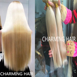 Wholesale Brazilian Blonde Weft Weave - 8A Platinum blonde straight hair,613 brazilian virgin hair 3 bundles,Mixed length 8-30inch,Unprocessed human hair weave wefts
