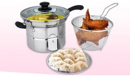 Wholesale Gas Wok - Fryer Pan with steamer, Flat Bottom Pot, Mini Frying wok, Fire Gas electric Cooker, Stainless steel, Glass cover Free shipping