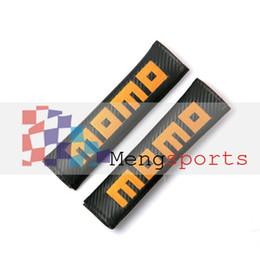 Wholesale Momo Carbon Fiber - 60 Sets Pair Real Carbon Fiber MOMO WRC Sport line Rallart Racing Flag Sport Black Shoulder pad Seat Belt Cushion MIX DHL Free