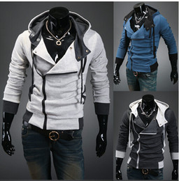 Wholesale Black Assassins Creed Hoodie - 2015 winter NEW Men's Slim Personalized hat Design Hoodies & Sweatshirts Jacket Sweater Assassins creed Coat
