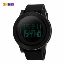 Wholesale Large Led Blue Clock - SKMEI Large Dial Outdoor Men Sports Watches LED Digital Wristwatches Waterproof Alarm Chrono Calendar Fashion Casual Watch Stop Time Clock