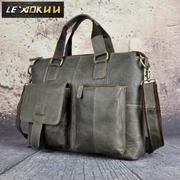 "Wholesale Women Leather Attache Case - Mens Genuine Leather Antique Style Briefcase Business 16"" Laptop Cases Attache Messenger Bags Portfolio Tote B260"