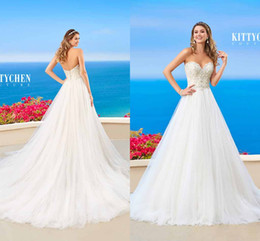 Wholesale Backless Tops Open Back - A-Line Sweetheart Wedding Dresses 2016 With Lace Appliques Top Sexy Open Back Button Covered Tulle Sweep Train Spring Beach Wedding Gowns