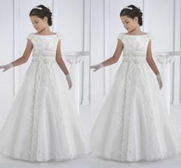 Wholesale First Silver - first communion dresses floor length princess white flower girl dresses girls white communion dresses vestidos de comunion