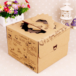 Wholesale Wholesale Point Sale Supplies - Pretty Bear Kraft Paper Cake Box with White Inner Base Eco Friendly West Point Dessert Gift Packaging Box HOT Sale CK216