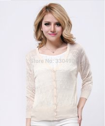 Wholesale Choose Computer - Wholesale- 2014 New fashion Summer women's Candy Lace hollowout 12colors can be choose sweater female's knitwear Thin cardigans for summer