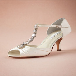 Wholesale Silk Ribbon Dance - 2015 Elegant Wedding Shoes Peep-toes Stiletto Bridal Shoes Sandals Middle Heels With Clearly Shiny Crystals Bridal Dancing Shoes