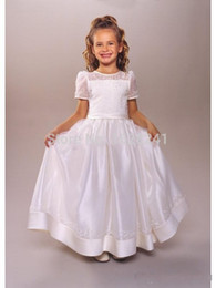 Wholesale Hand Make Baby Girl Cap - 2017 A Line Lace Bow White First Communion Dresses Baby party Gowns Holy short sleeve Flower Girl Dress Vestidos de Comunion