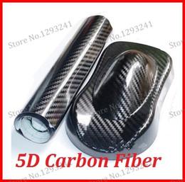 Livraison gratuite 1 pc 1.52MX0.5M brillant film de vinyle de fibre de carbone 5D avec bulle autocollant de voiture 5D ? partir de fabricateur