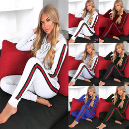Wholesale Blue Nightclub - Europe and the United States sexy neck tie strap two-piece nightclub clothing casual women's two piece pants sport running suits