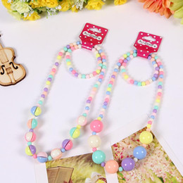Wholesale Wholesale Kids Bubble Necklaces - Girls Chunky Bubble Gum necklace and bracelet set bright colors children jewelry girl jewelry kids jewelry little girls gift