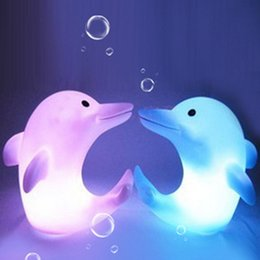 Wholesale Toy Animal Night Light - Dolphin Night Light LED Lighted Toys LED Night Light Colorful Light-emitting Dolphins Creative Small Night Light Automatic Color Change LED