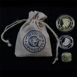 2019 кольцевая подставка китайская HOT Гарри Гринготтс Банк Монета Pottor Коллекция Гарри Wizarding World, Хогвартс, благородный с тканью банка сумка свободный корабль
