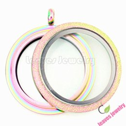 Wholesale Plastic Heart Pendant Necklace - 30mm stainless steel waterproof Rainbow color Frosted Screw Twist memory living glass Locket fit floating locket charms necklace