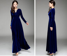 Wholesale Ladies Long Sleeved Evening Dresses - In the spring and autumn winter new large size ladies pleuche dress long-sleeved posed long skirt of tall waist party evening dress dress
