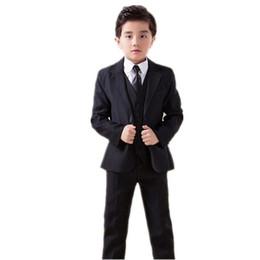 2019 casamento vermelho do laço da camisa preta Formal meninos ternos smoking qulity meninos ternos para a forma de casamento de três peças ternos meninos (jaqueta + calça + colete + gravata borboleta)
