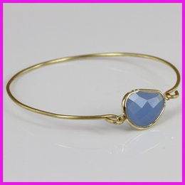 Wholesale Tiny Glass Beads Wholesale - Wholesale-10pcs lot Hot Sale Blue Crystal Faceted Bezel Glass Quartz Gem Stone Gold Tiny Bangle,Natural Agate Bead Charm Bangle Bracelet