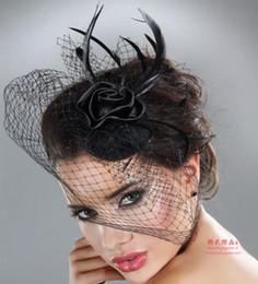 filet de cage à oiseaux noir Promotion Noir Blanc Mode Fait Main Plume avec Net Belle Fête De Mariage De Mariée Fascinator Chapeaux Voile Birdcage Cheveux Accessoires
